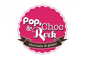 pop choc rock branding for gelato shop in Westfield Chatswood